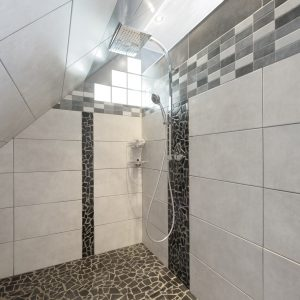 Construction à toiture deux pans - douche