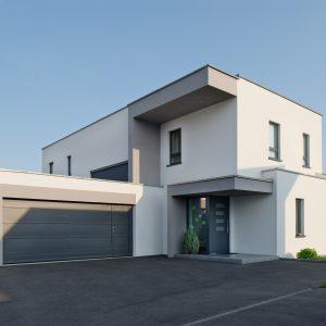 Construction à toit plat - façade avant et garage