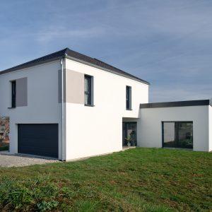 Construction quatre pans et monopente - façade arrière et garage