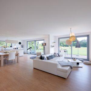Construction à toit plat - cuisine, salle à manger et salon